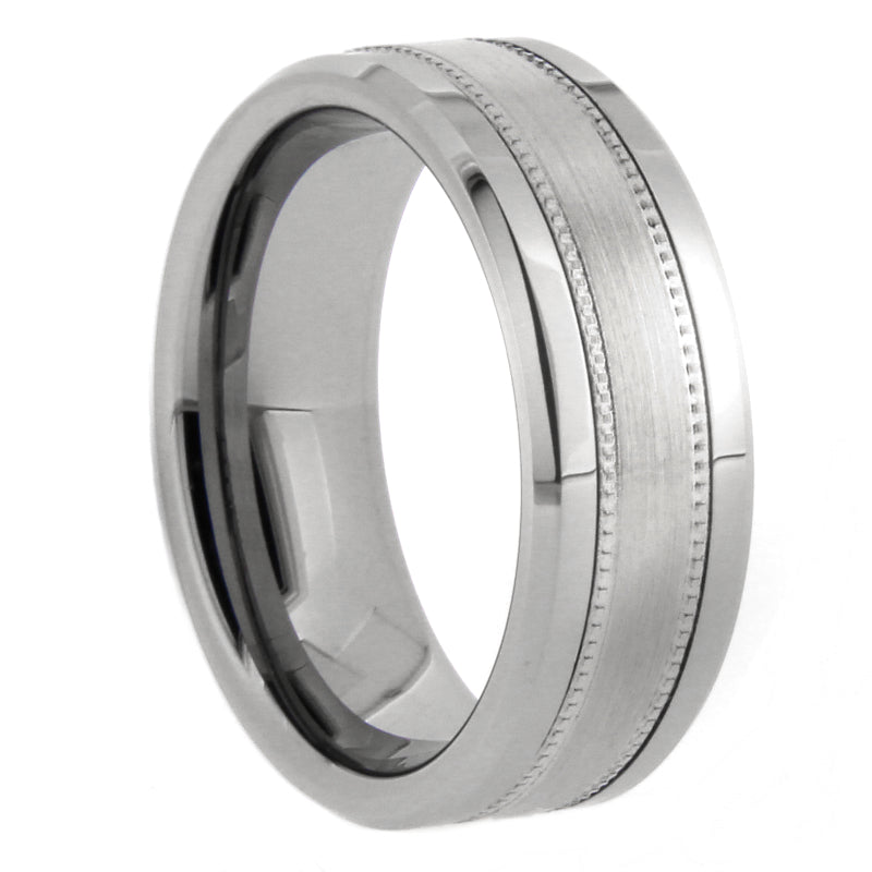 Silver Milgrain and Satin Tungsten Ring