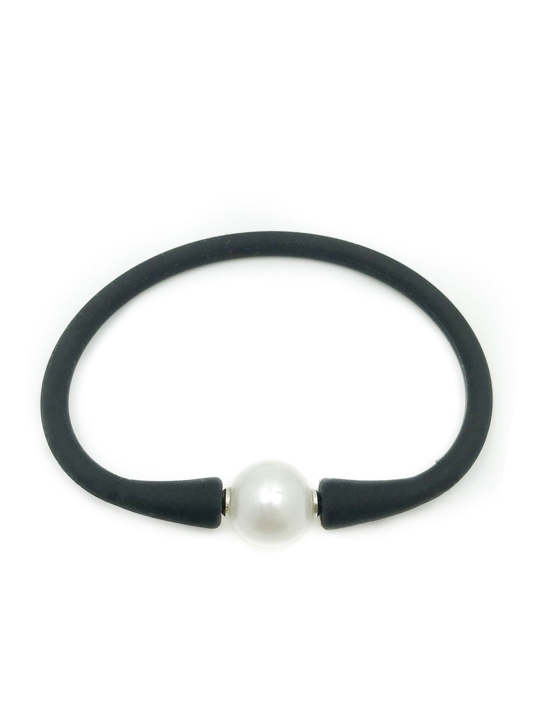 Natural Cultured Pearl Black Rubber Bracelet