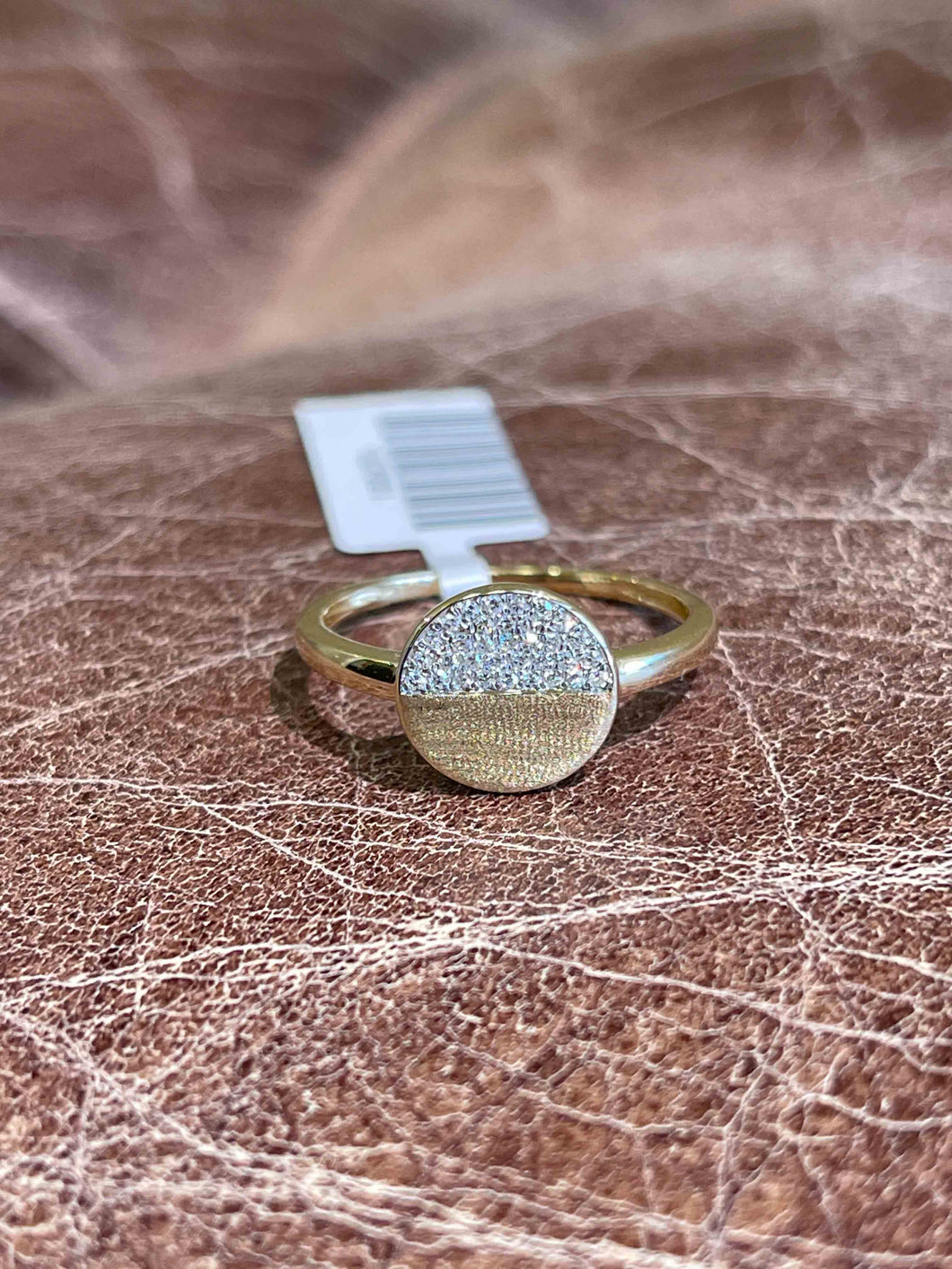 Half Pavé Circle Disc Ring