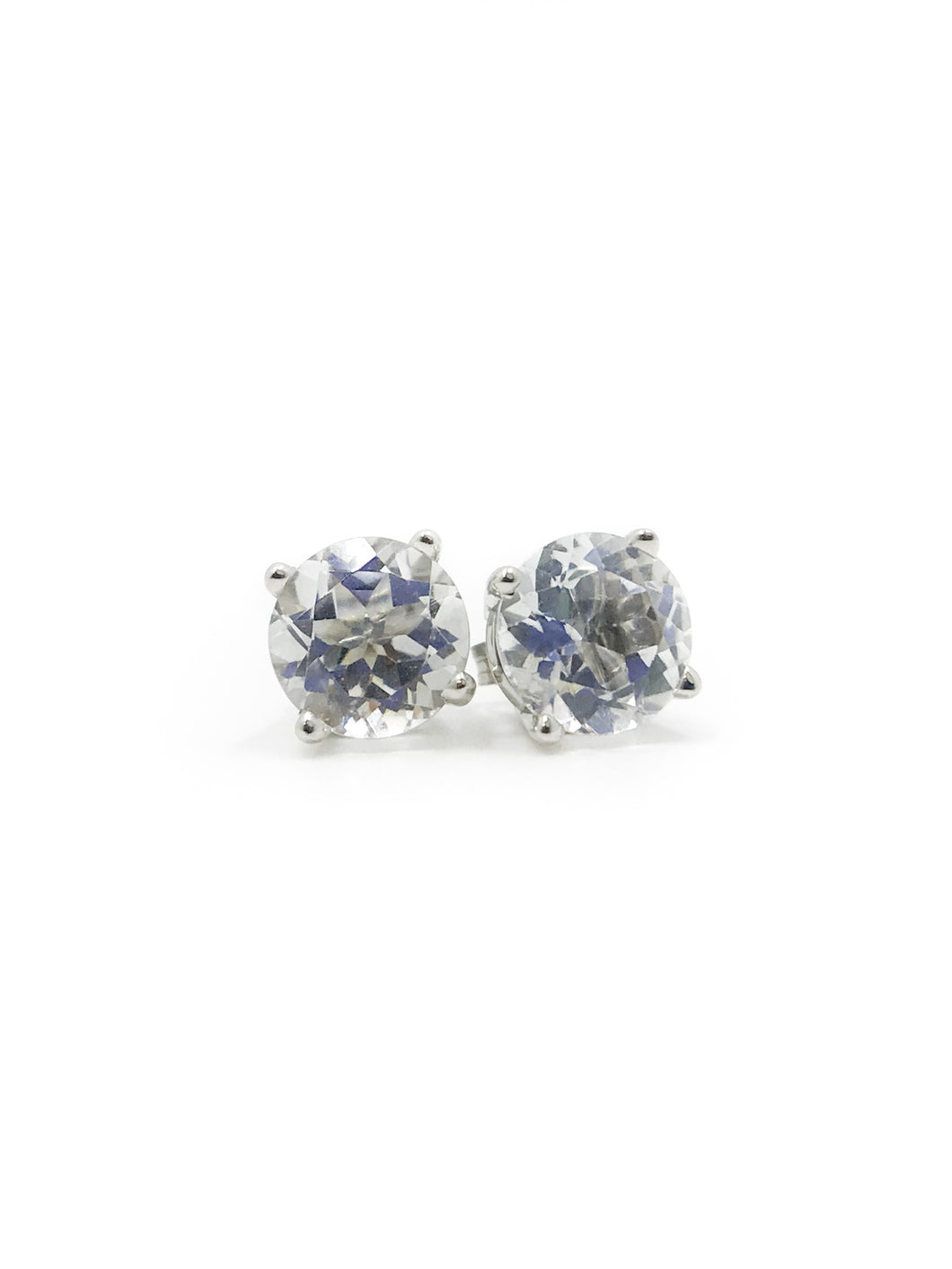 Round White Topaz and 10K White Gold Stud Friction Post Earrings 2.50tcw.