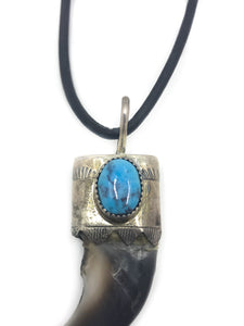 "Bear Claw Turquoise .925 Sterling Silver 20"" Black Leather Cord Pendant & Necklace  Edit alt text"