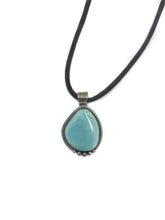 Load image into Gallery viewer, Turquoise Pendant With Leather Necklace .925 Silver Bezel Black Leather Cord Necklace Well Built