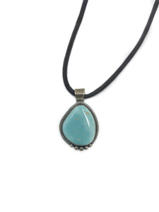 Turquoise Pendant With Leather Necklace .925 Silver Bezel Black Leather Cord Necklace Well Built