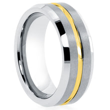 Load image into Gallery viewer, Mens-Silver-tungsten-ring-with-thin-yellow-line-comfort-fit-satin-finish-beveled-edge