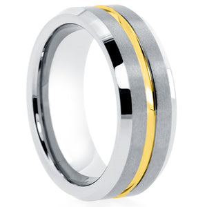 Mens-Silver-tungsten-ring-with-thin-yellow-line-comfort-fit-satin-finish-beveled-edge