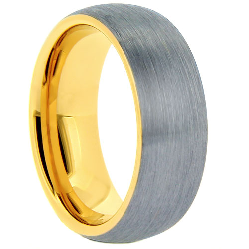 Silver and Gold Colored Men's Brushed Comfort-fit Tungsten Ring