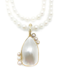 Yellow Gold Baroque Primary Pearl 6 Round Pearl Accents Freshwater Cultured Pearls