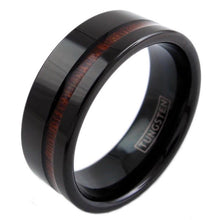 Load image into Gallery viewer, beautiful-black-flat-band-tungsten-ring-with-classy-off-center-koa-wood-inlay-tungsten-rings-wedding-bands-diagonal