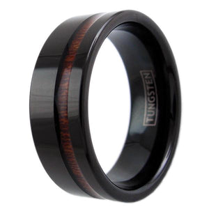 beautiful-black-flat-band-tungsten-ring-with-classy-off-center-koa-wood-inlay-tungsten-rings-wedding-bands-diagonal