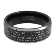 Load image into Gallery viewer, black-tungsten-ring-with-laser-engraved-lords-prayer-in-silver-wholesale-tungsten-rings-wedding-bands