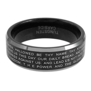 black-tungsten-ring-with-laser-engraved-lords-prayer-in-silver-wholesale-tungsten-rings-wedding-bands