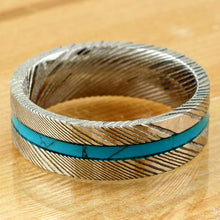 Load image into Gallery viewer, gorgeous-8mm-flat-band-wood-grain-damascus-steel-wedding-band-ring-with-turquoise-inlay  Edit alt text