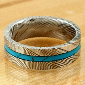gorgeous-8mm-flat-band-wood-grain-damascus-steel-wedding-band-ring-with-turquoise-inlay  Edit alt text