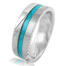 Load image into Gallery viewer, gorgeous-8mm-flat-band-wood-grain-damascus-steel-wedding-band-ring-with-turquoise-inlay