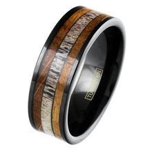 Load image into Gallery viewer, polished-black-tungsten-carbide-flat-band-ring-with-deer-antler-and-whiskey-barrel-oak-wood-inlays-tungsten-rings-wedding-bands-