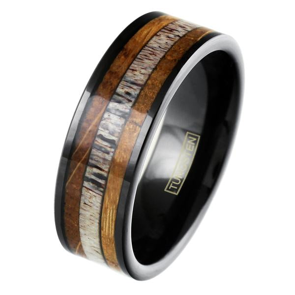 polished-black-tungsten-carbide-flat-band-ring-with-deer-antler-and-whiskey-barrel-oak-wood-inlays-tungsten-rings-wedding-bands-