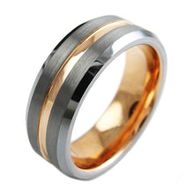 Load image into Gallery viewer, two-tone-tungsten-ring-with-rose-gold-inner-band-brushed-finish-outer-band-recessed-rose-gold-stripe-beveled-edges-tungsten-rings-wedding-bands