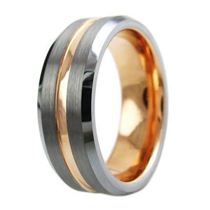 two-tone-tungsten-ring-with-rose-gold-inner-band-brushed-finish-outer-band-recessed-rose-gold-stripe-beveled-edges-tungsten-rings-wedding-bands
