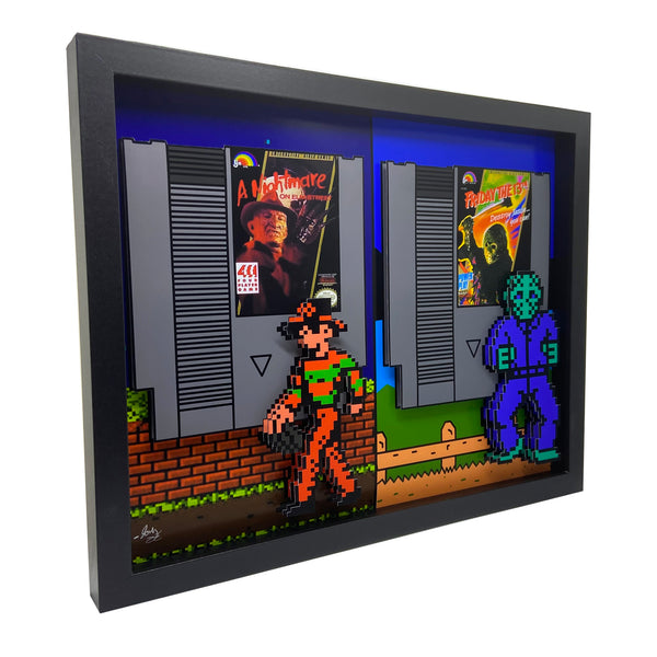 "8 Bit Jason & Freddy 11x14"" 3D Art"