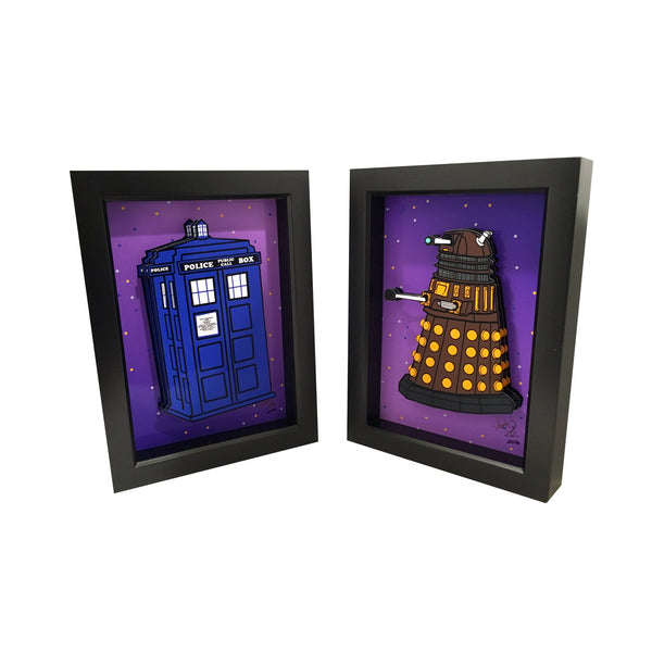 Doctor Who Tardis & Dalek 3D Art