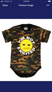 BROWN FATIGUE IM NOT EXCITED SHIRTS