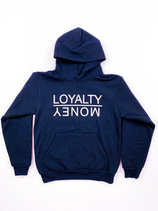 NAVY BLUE LOYALTY OVER MONEY HOODIES