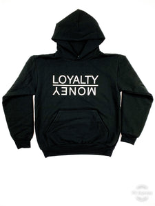 SOLID BLACK LOYALTY OVER MONEY HOODIES