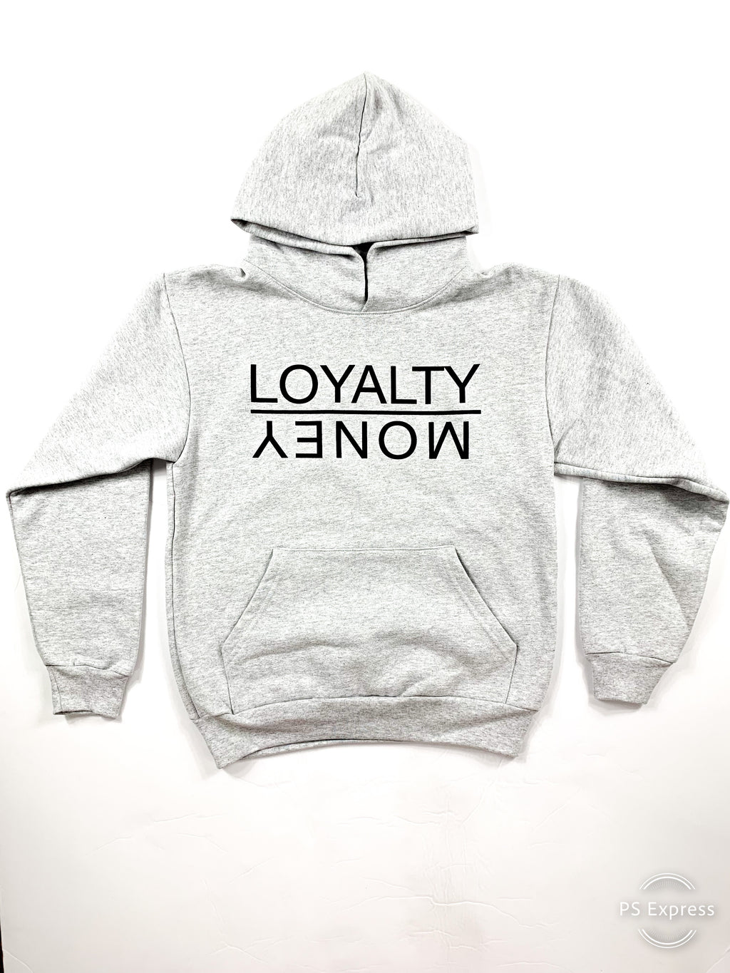 LIGHT GREY AND BLACK LOYALTY OVER MONEY HOODIES