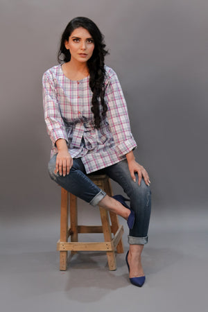 Cotton Check Top With Belt
