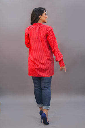 Cotton Stripes Red Top