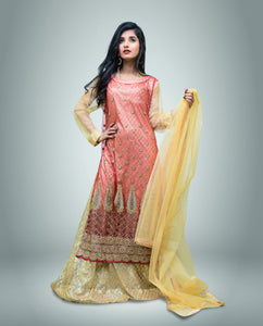 Glitter And Embroidered Stone Work Net Double Layer Maxi With Dupatta And Trouser