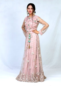 Net Cut Dana Blouse With Sharara & Dupatta