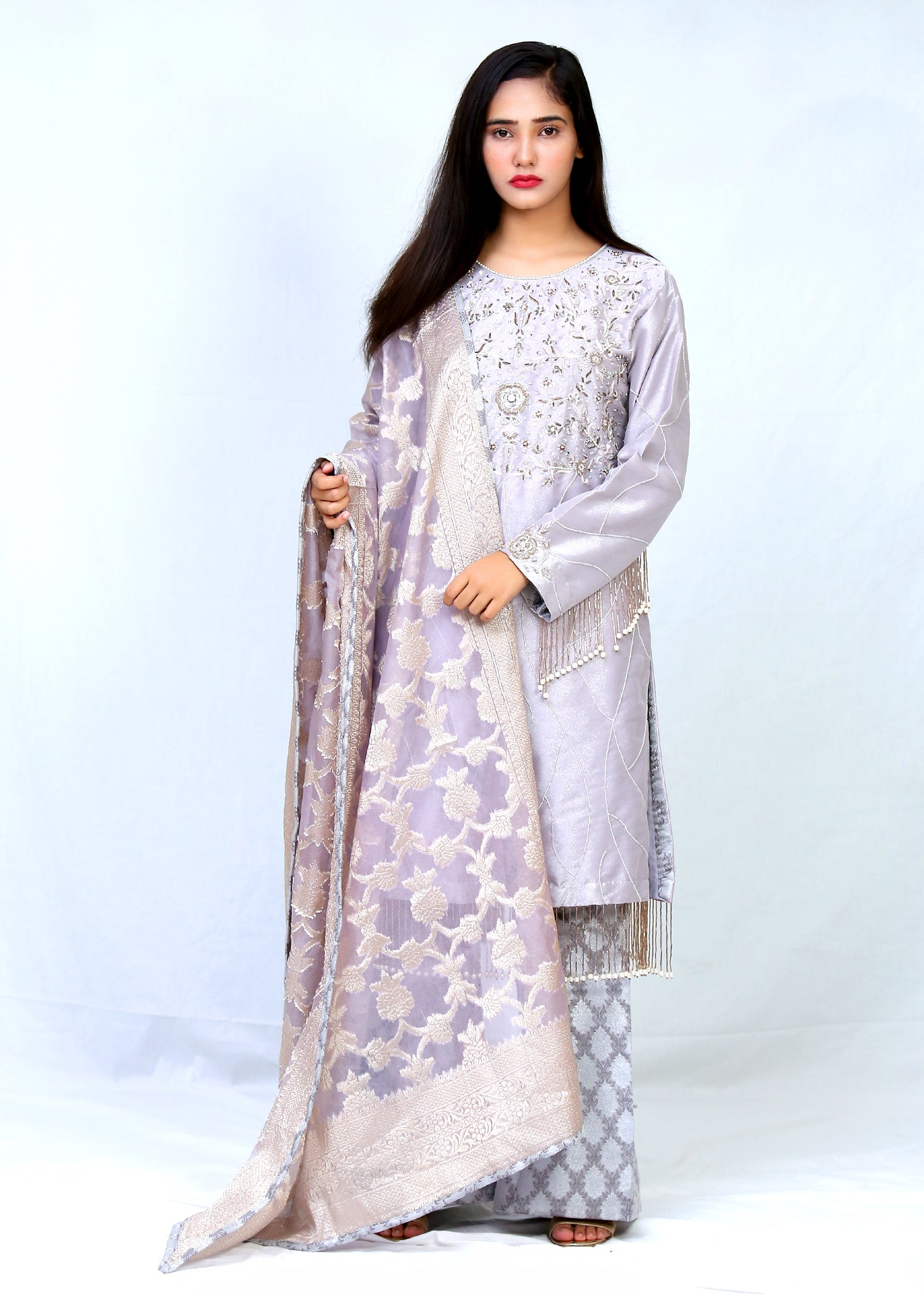 Tissue Hand Work Shirt With Tassels, Banarsi Trouser & Dupatta