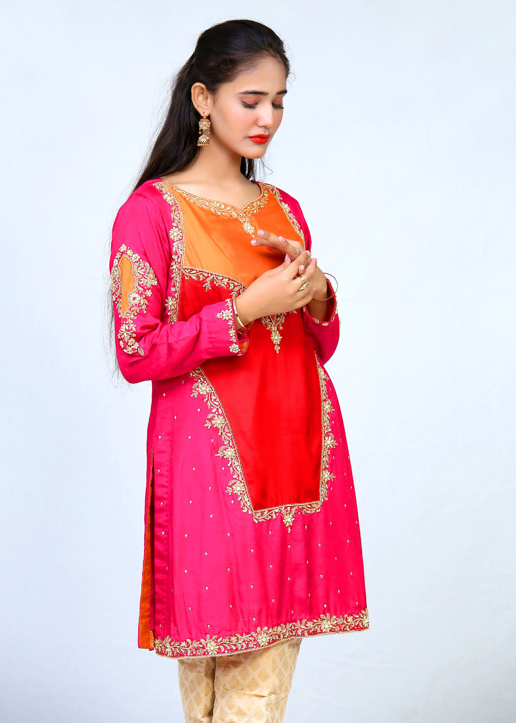 Cotton Silk Hand Work Shirt With Jamawar Trouser and Dupatta