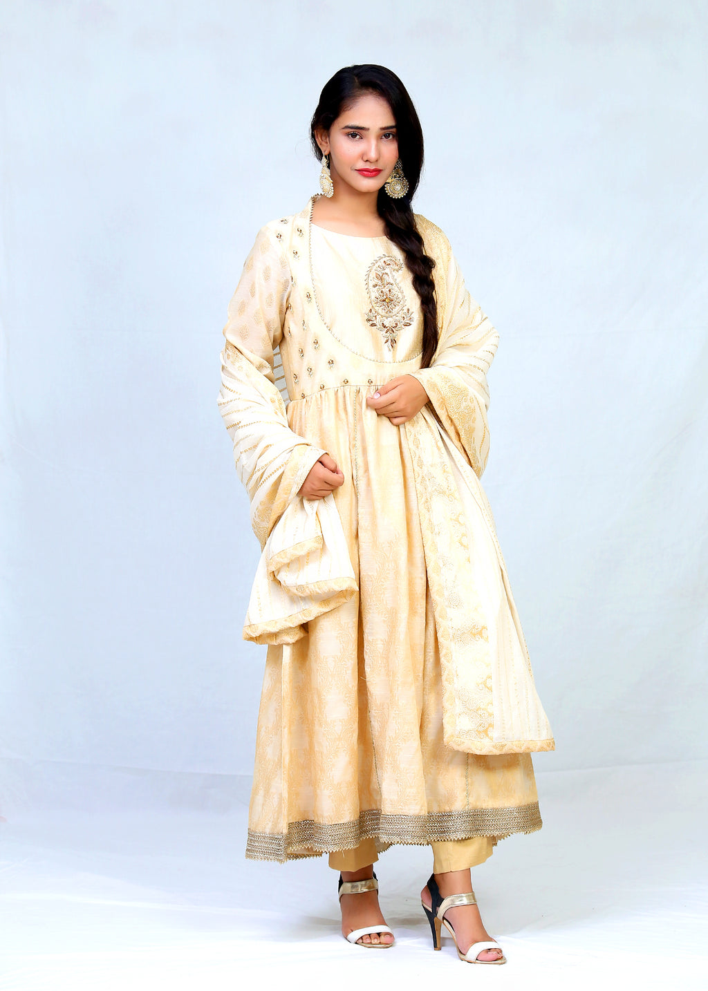 Cotton Banarsi Hand Work Anarkali Style With Trouser & Dupatta