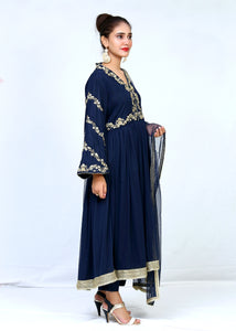 Hand Embroidered Gotta Tilla Work Long Pishwas Style With Dupatta & Trouser