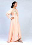 Crape Silk Cut  Style Long Maxi