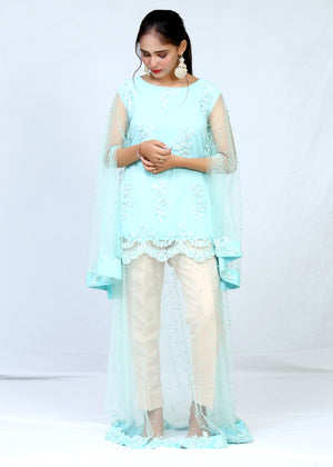 Embroidered Net Pearl Work Long Maxi With Trouser