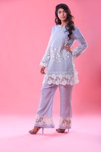 Khaddi Embroidered Lace Work Shirt With Trouser