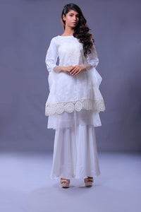 Net Embroidered & Cut Dana Applic Bunches Shirt With Tail Style Gharara Pant & Dupatta