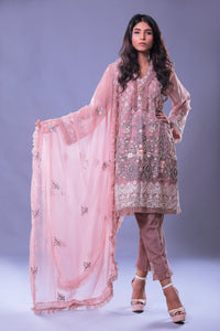 Embroidered & Pearl Work Shirt With Trouser & Dupatta
