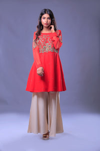 Net Embroidered & Hand Work Cut Body Tail Style Shirt Peplum With Dupatta & Bell Bottom Trouser
