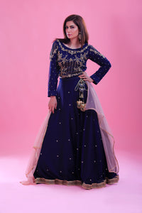 Embroidered Sharara Cut Dana Work Blouse & Dupatta