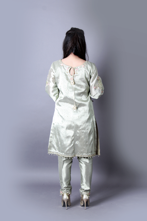 Olive Green Tissue Hand Work Detailing Cora, Dupka, Pearl Work Back & Front & Trouser
