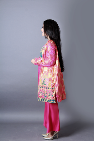 Pure Jamawar Upper Coat Style Handwork Detailing Mughal Era Pattern With Inner & Slit Open Bell Bottom Trouser