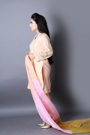 Khadi Hand Work With Cora Dubka Shirt With Trousers & Dupatta
