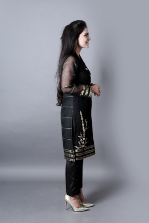 Khadi Hand Work With Cora Dupka Shirt With Trouser& Dupatta