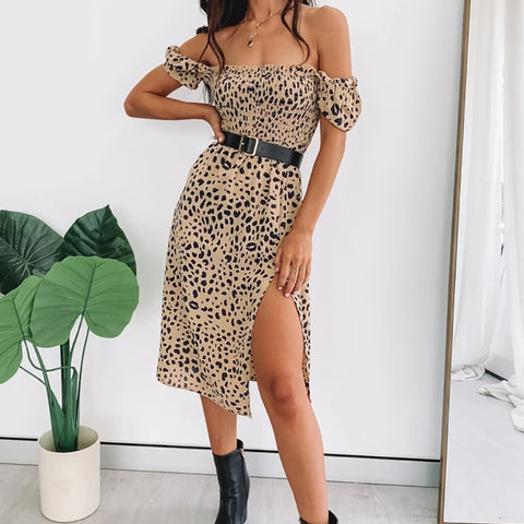 Off shoulder Leopard Dress Kayleigh