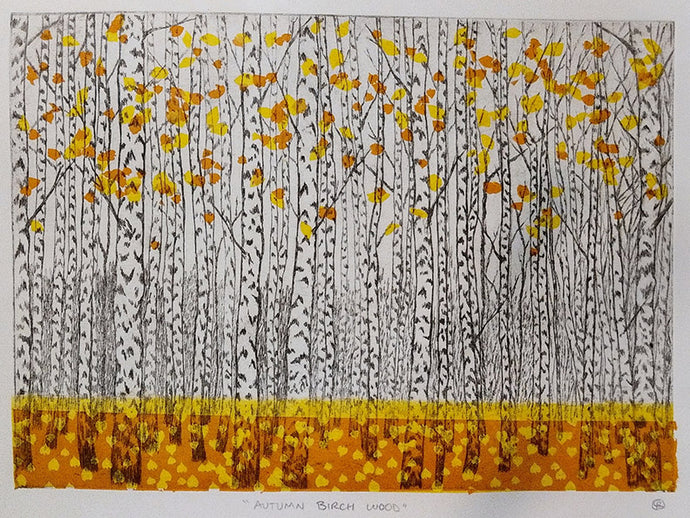 Birch Wood Etching - Autumn Leaves Edition