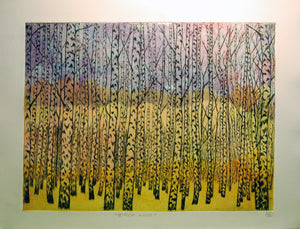 Birch Wood Etching - Dusk Version